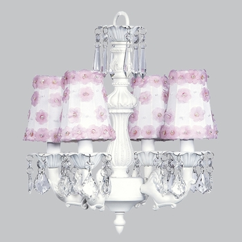 white fountain chandelier - pink petal shades