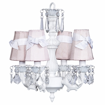 white fountain chandelier - pink shades