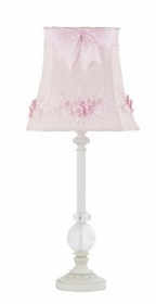 white glass ball lamp-pink floral bouquet shade