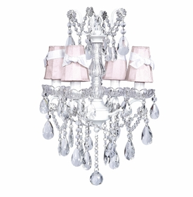 white glass center chandelier pink shades