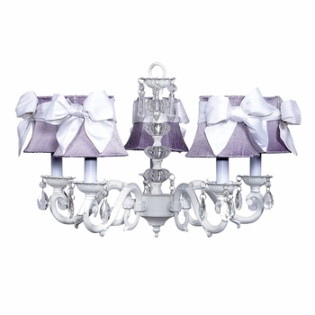 white glass turret chandelier with lavender shades