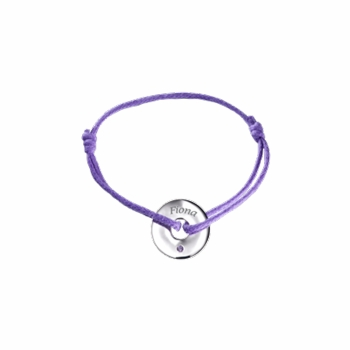 white gold amethyst tiny circle charm bracelet