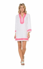 white long sleeve linen tunic dress with pink trim