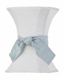 white medium hourglass shade - blue sash