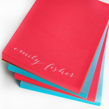 White on Bright Personalized Letter Note Pad