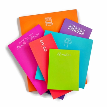 White on Bright Personalized Skinny Note Pad