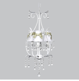 white pear bright idea chandelier - white shades/green sash