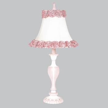 white/pink curvy candle lamp with ring of roses shade