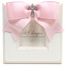 White & Pink Small Lace Cross 4x4 Frame