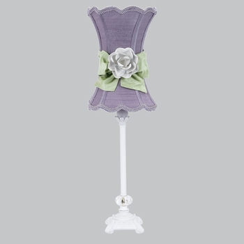 white scroll glass ball lamp with lavender shade