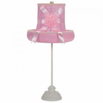 white scroll lamp-pink check hat shade