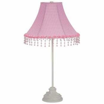 white scroll lamp-pink check pearl flower shade