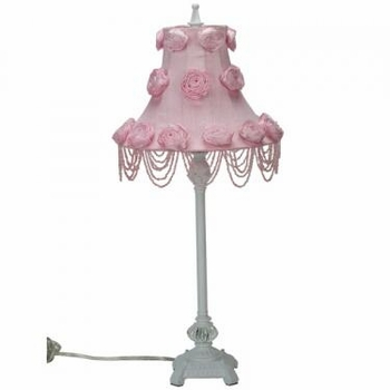 white scroll lamp - rose swag shade