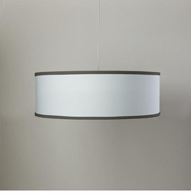 white shallow cylinder light - brown trim