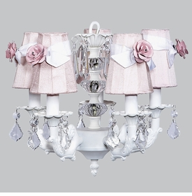 white stacked glass ball chandelier with pink shades
