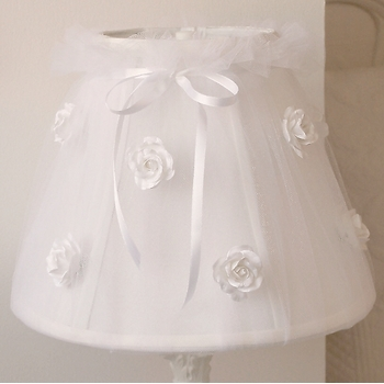White Tulle Lamp Shade with Roses