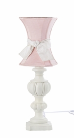white urn lamp with pink urn shade