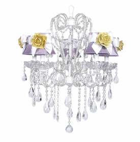 white whimsical beaded chandelier - lavender shades