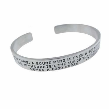 wide bracelet - silver with inspirational quote