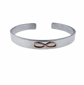 wide sterling silver cuff bracelet with 14k infinity