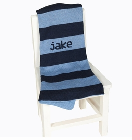wide stripe personalized baby blanket