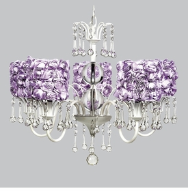 wistful chandelier - lavender rose garden shades