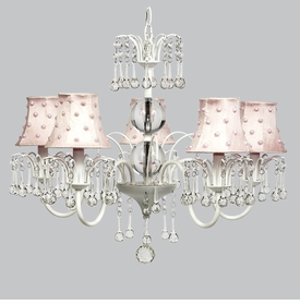 wistful chandelier - pink pearl dot shades