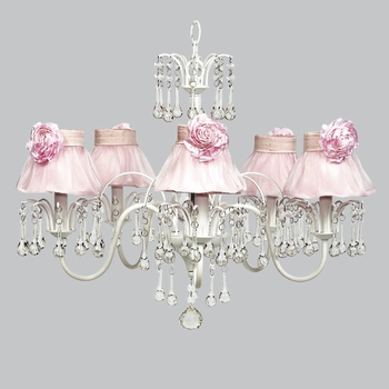 wistful chandelier - pink rose shades