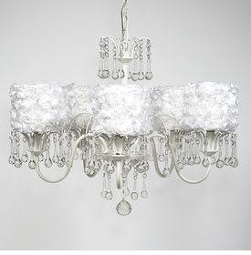 wistful chandelier - white rose garden shades