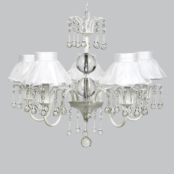 wistful chandelier with sheer shades