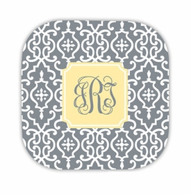 wrought iron gray hardback rounded coaster<br>(set of 4)