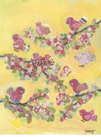yellow blossom birdies wall art