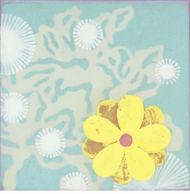 yellow flower on blue wall art