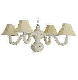 yellow linen four arm spindle chandelier