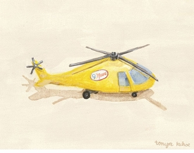 yellow news helicopter - wall art by tonya kehoe