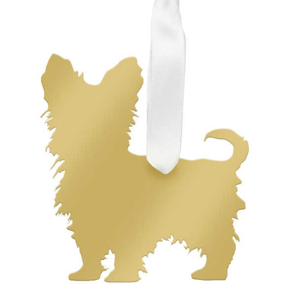 Yorkshire Terrier Christmas Ornament Gold
