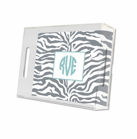 zebra gray lucite tray - small