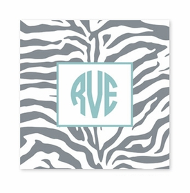 zebra gray square paper coaster<br>set of 50
