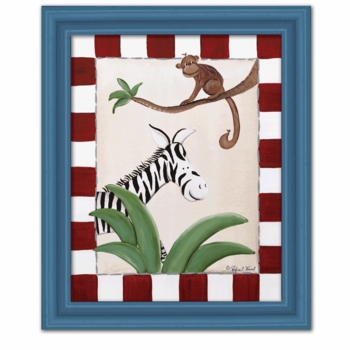 zebra & monkey canvas reproduction wall art - SOLD OUT