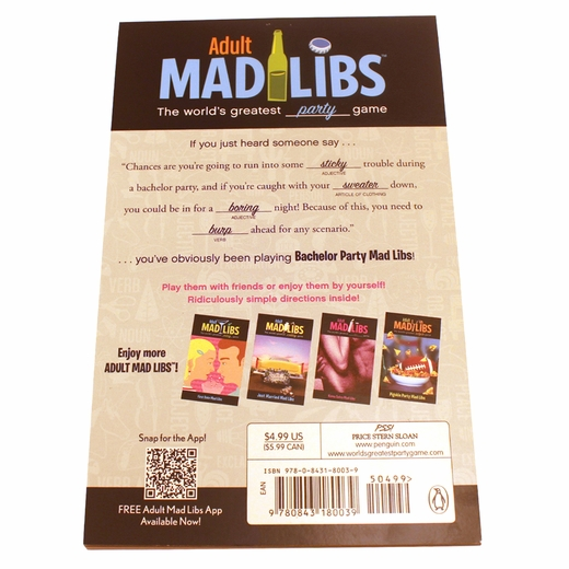 Bachelor Party Mad Libs