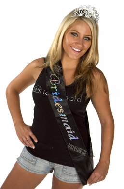 Bridesmaid Sash - Black Diamante