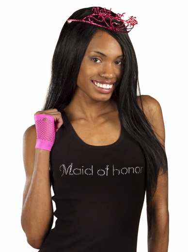 Maid Of Honor Tank Top - Black with White Gemstones