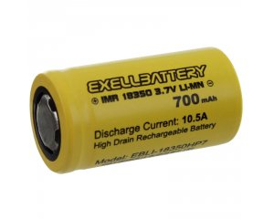 EXELL BATTERY EBLI-18350HP7, 10.5AMP 15C Rechargeable Flat Top Battery IMR LiMN