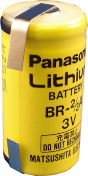 Panasonic BR-2/3A Lithium Battery with Solder Tabs, 2/3A-Size 3 Volts