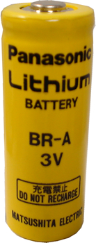 Panasonic BR-A Lithium Battery with 3-Pin (2-pin [-] 8mm), A-Size 3 Volts