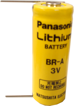 Panasonic BR-A Lithium Battery with Solder Pins, A-Size 3 Volts
