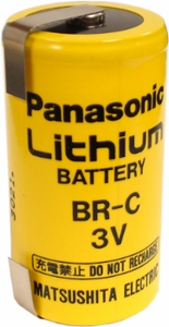 Panasonic BR-C Lithium Battery with Solder Tabs, C-Size 3 Volts