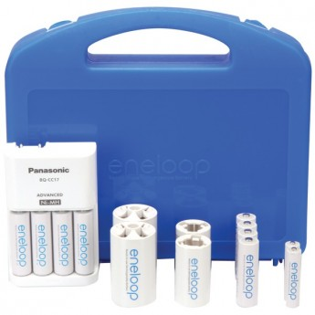 Panasonic Eneloop Charger with 2 AAA & 8 AA Batteries & 2 C & 2 D Spacers