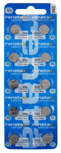 Renata 394TS 10-Pack, SR936, 380/394 Silver Oxide Button Cell Batteries