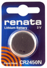 Renata CR2450N-CU 10-Pack, CR-2450 Lithium Coin Cell Batteries